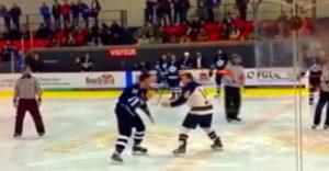 Počas hokejového zápasu sa strhla veľmi netypická bitka