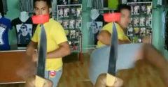 MMA bojovník povýšil Bottle Cap Challenge. Namiesto fľaše použil nôž