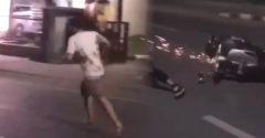 Na mol opitý muž sa rozbehol oproti chlapíkovi na mopede a drsne ho poslal k zemi